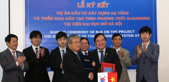 Lễ ký kết Dự án đầu tư bằng nguồn vốn ODA của Chính phủ Hàn Quốc cho hạ tầng công nghệ và nâng cao năng lực đào tạo E-Learning của Viện Đại học Mở Hà Nội