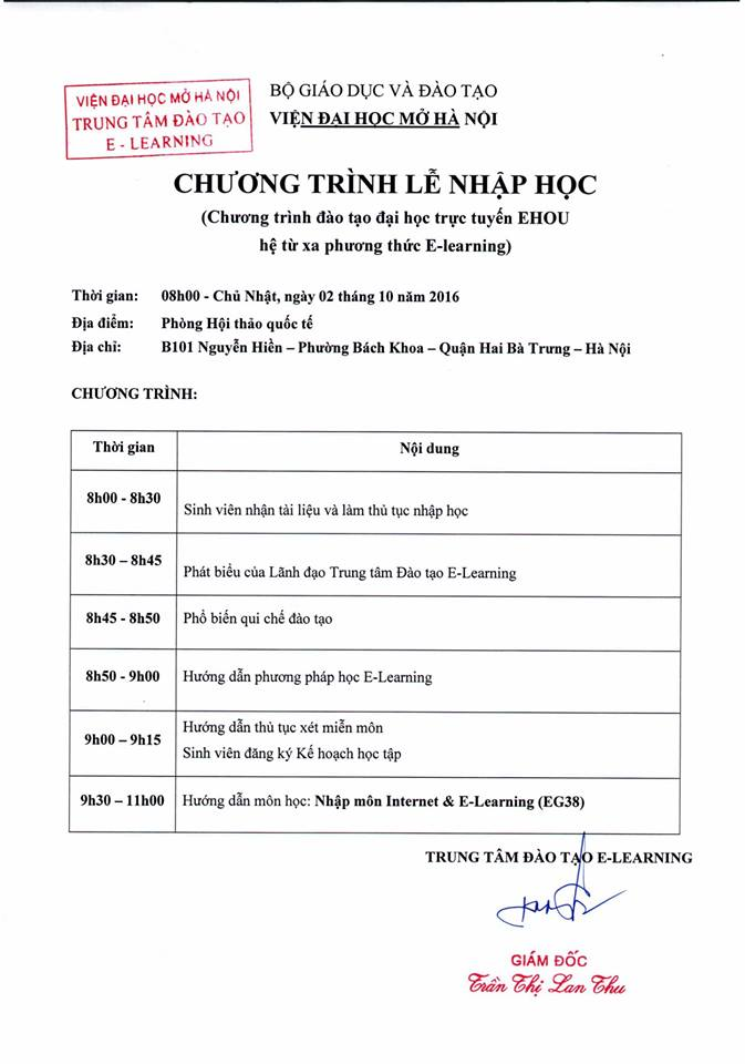 Nhập học Chương trình đào tạo Đại học trực tuyến EHOU ngày 02/10/2016 tại Hà Nội